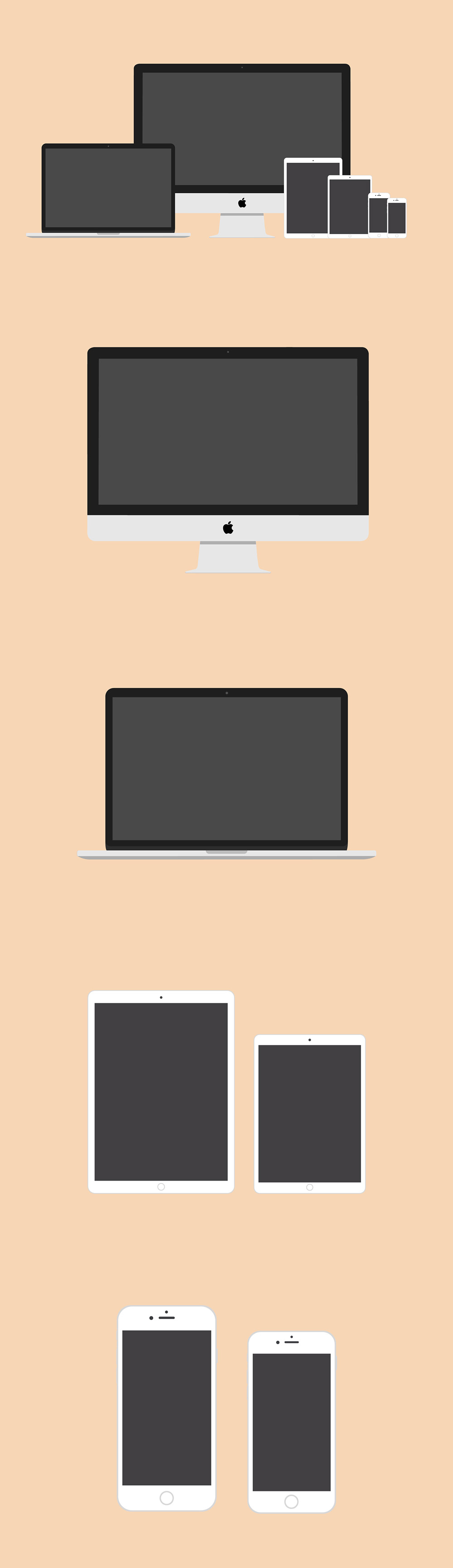 Flat Apple Devices Mockups