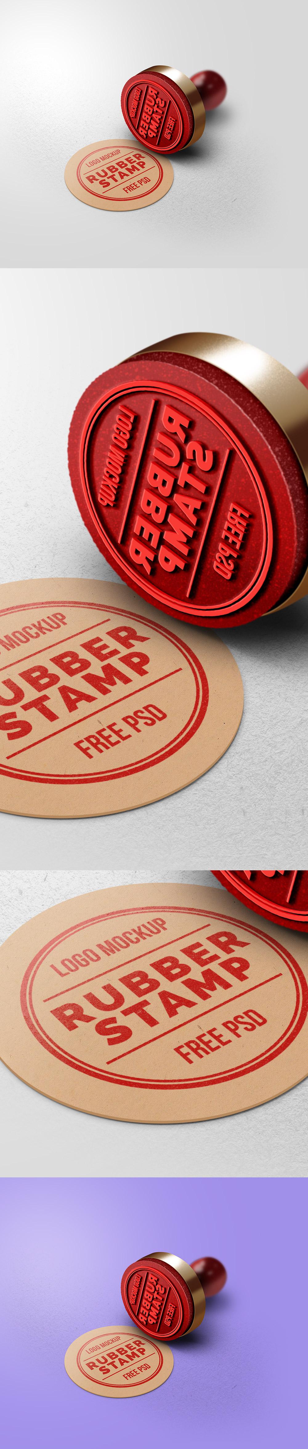 Rubber Stamp Logo Mockup