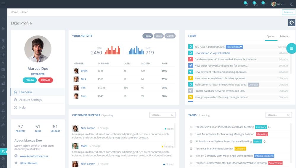 Metronic User Profile