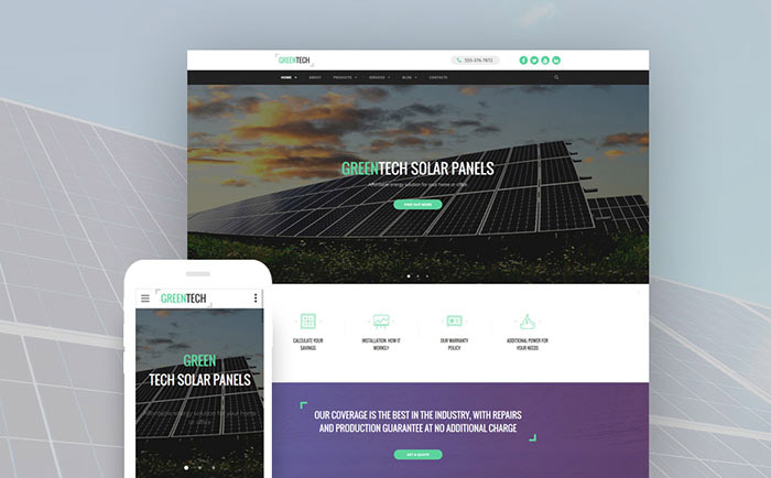 Solar Energy Responsive Website Template