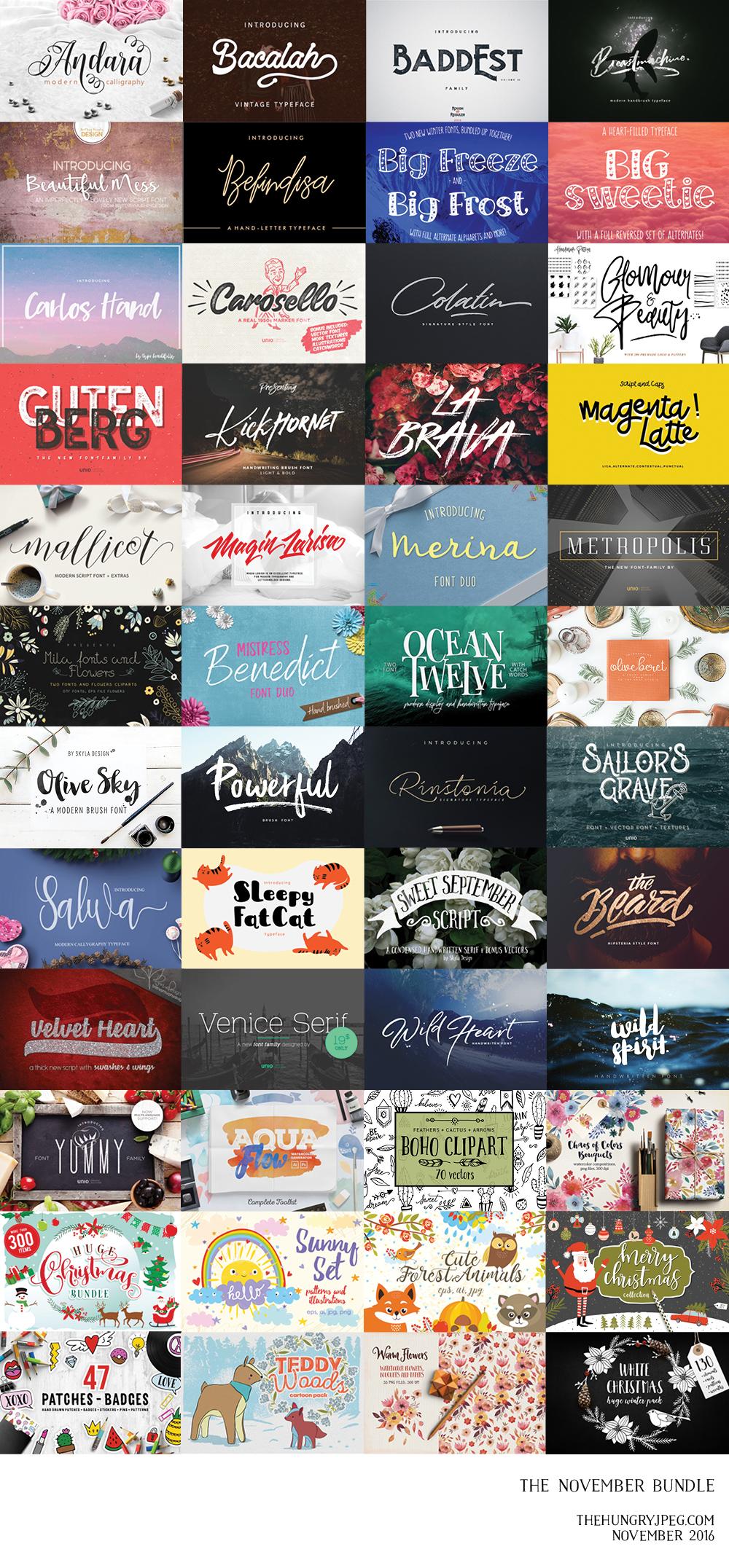 November Fonts & Graphics Bundle