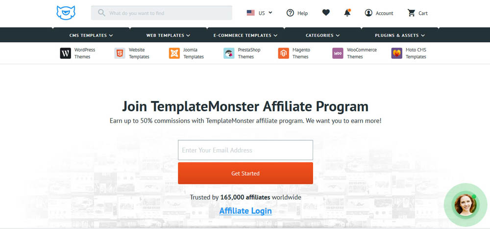 TemplateMonster Affiliate Page
