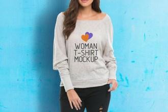 Free Woman TShirt Mockup