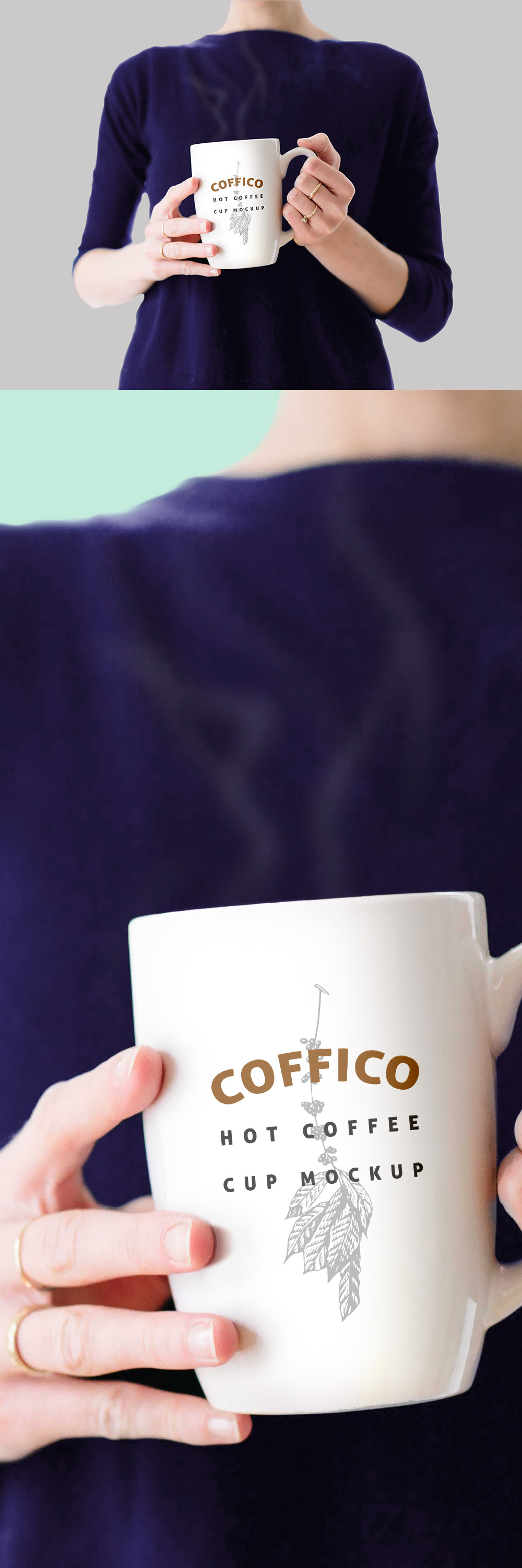Woman Holding Coffee Cup Mockup