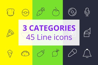 45 Food, Vegetables And Music Line icons