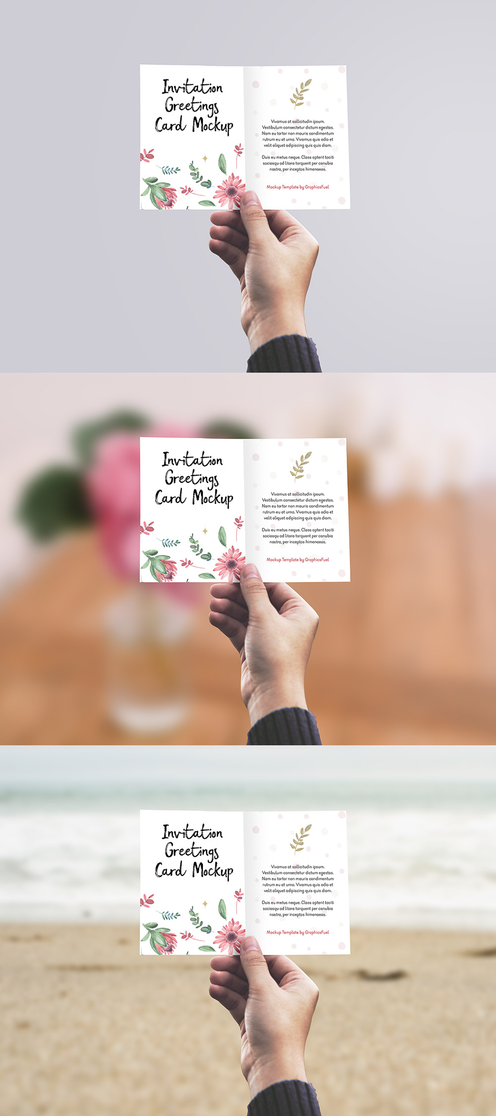 Invitation or Greeting Card Mockup PSD