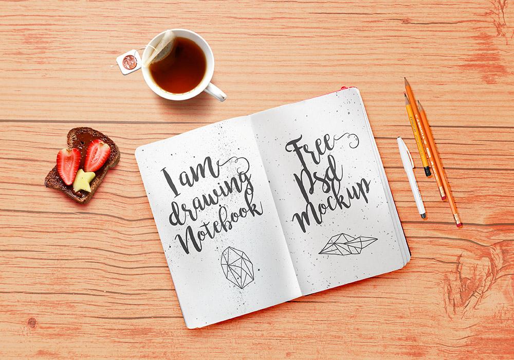 Free Stationery Sketchbook PSD Mockup