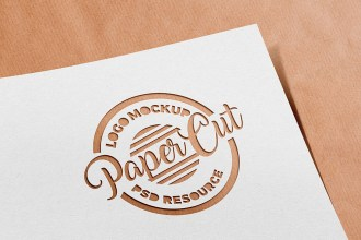 Paper Cutout Logo Mockup PSD
