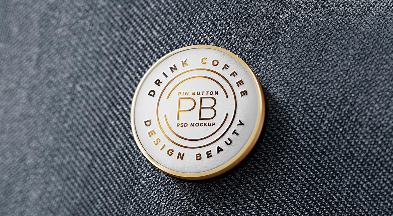 Metal Pin Badge PSD Mockup