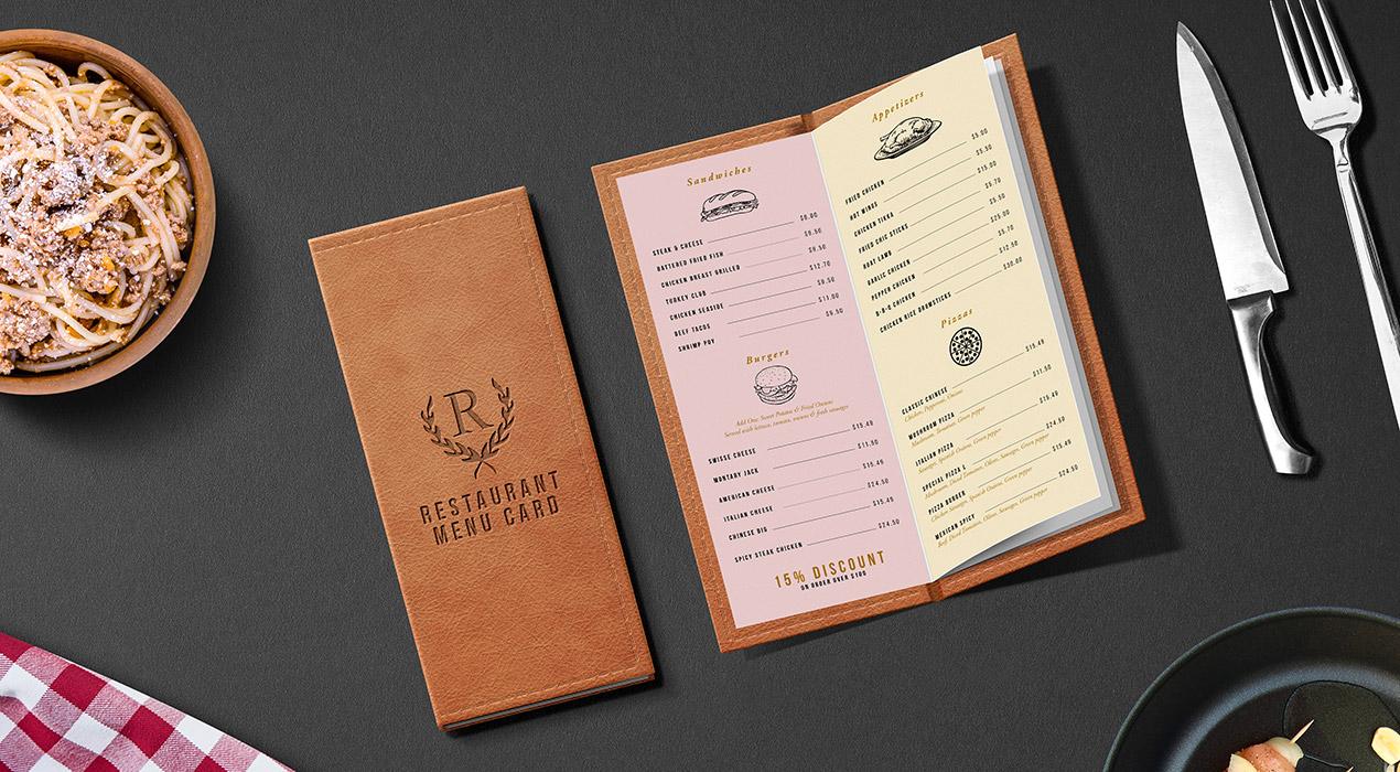 Restaurant Menu Card Mockup