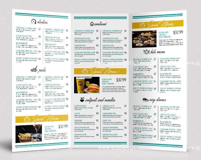 Free Food Menu Tri-fold Brochure PSD Template