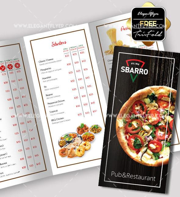Pizza – Free PSD tri-fold brochure