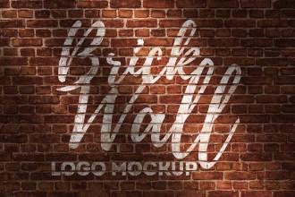 Brick Wall Logo Mockup PSD