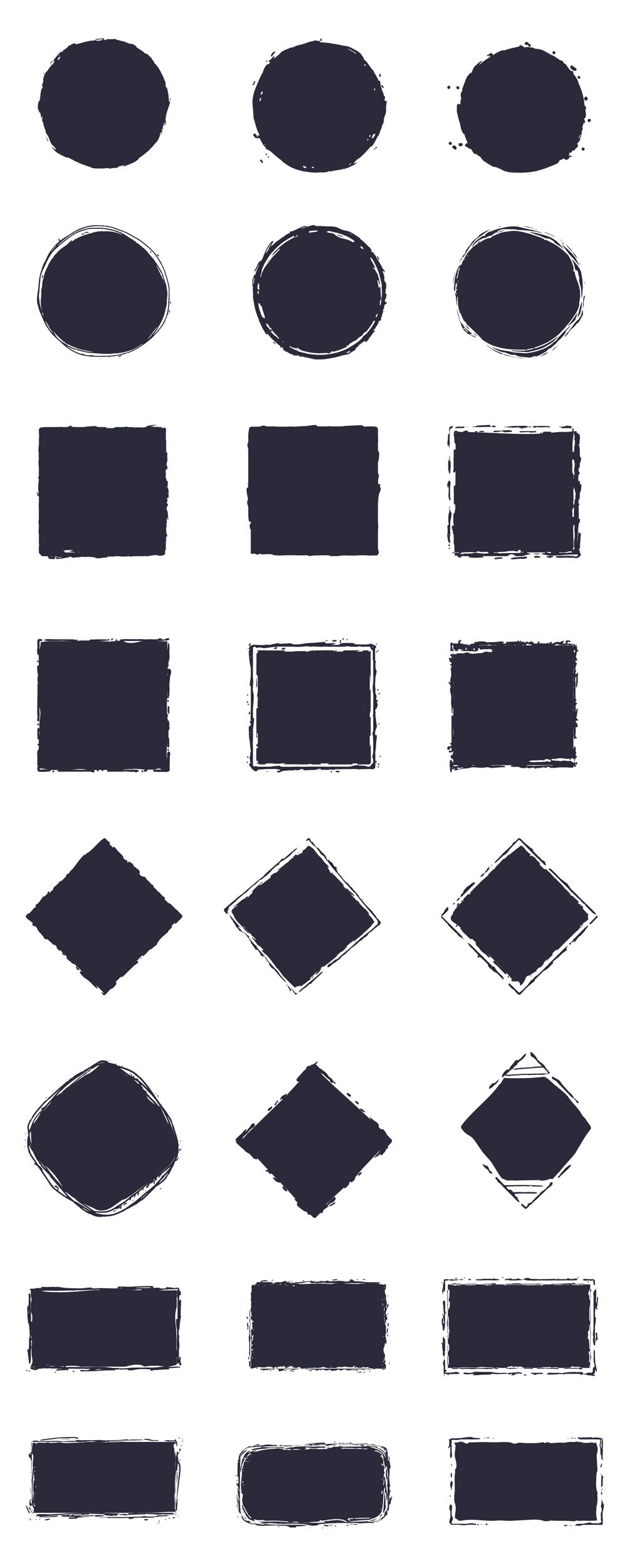 Grunge Logo Shapes Filled