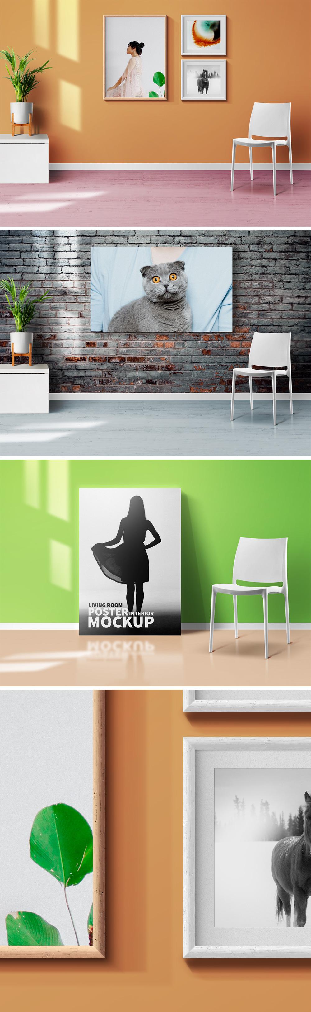 Living Room Frames & Poster Mockups