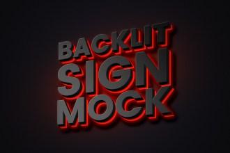 Backlit Sign Mockup PSD