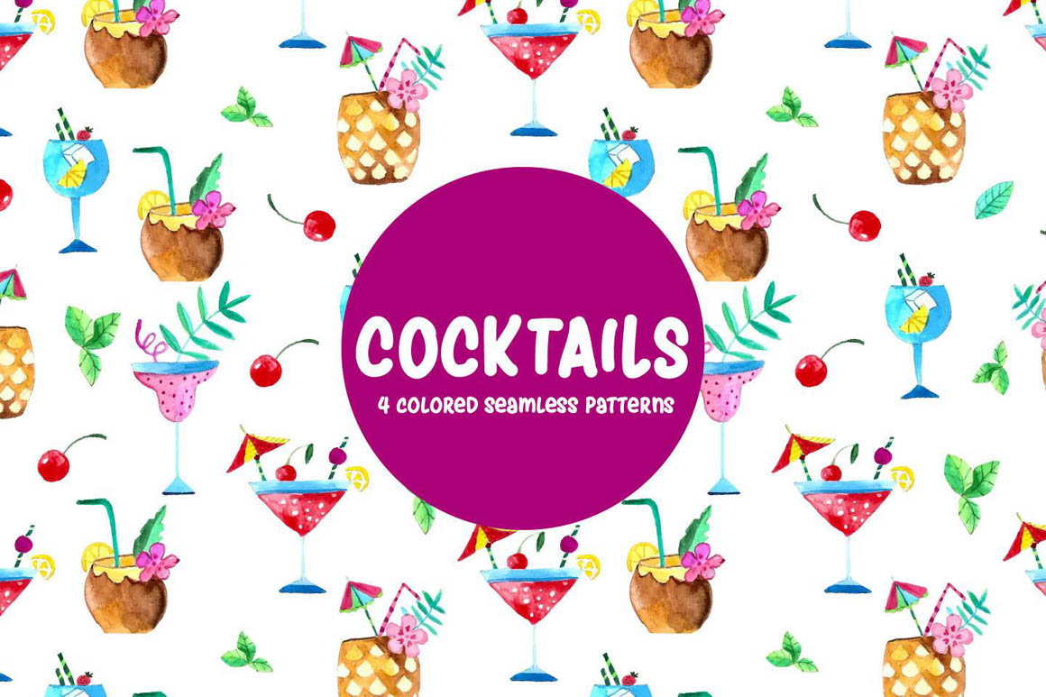 Coctails Watercolor Pattern