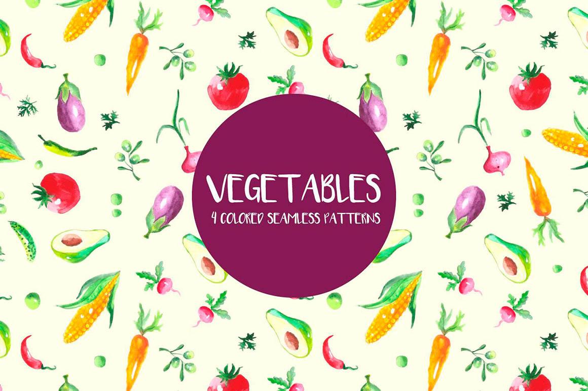 Watercolor Vegetables Pattern