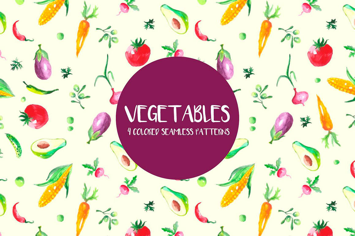 Watercolor Vegetables Pattern
