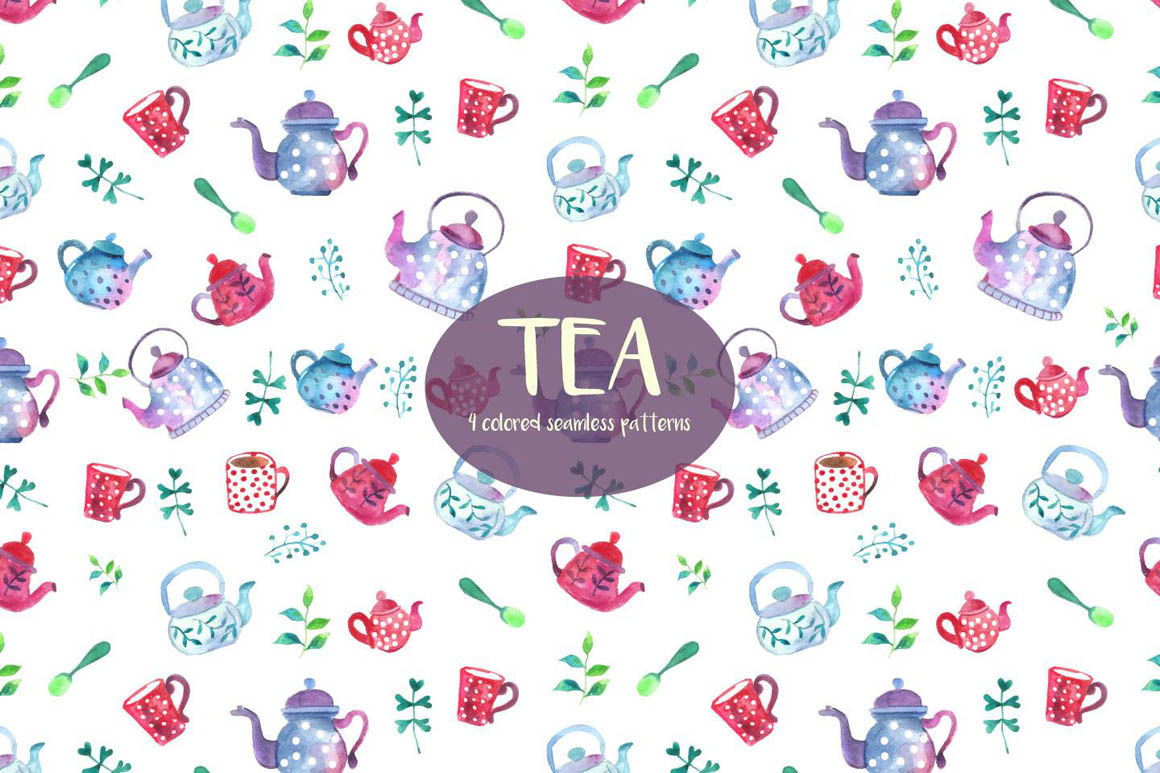 Watercolor tea Pattern