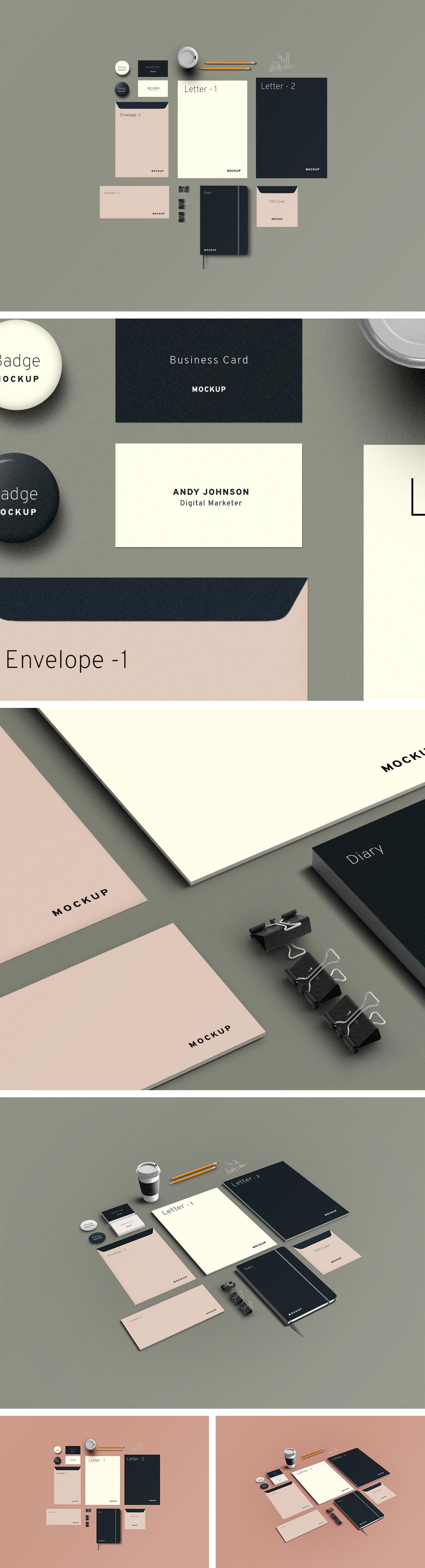 Branding Mockup PSD Elements