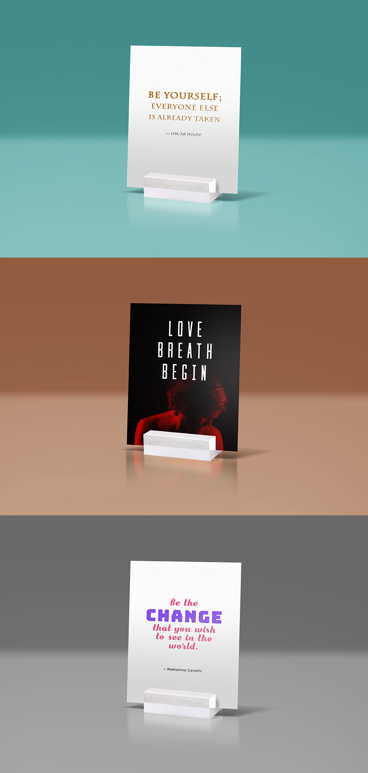 Glass Stand Quote Mockup PSD