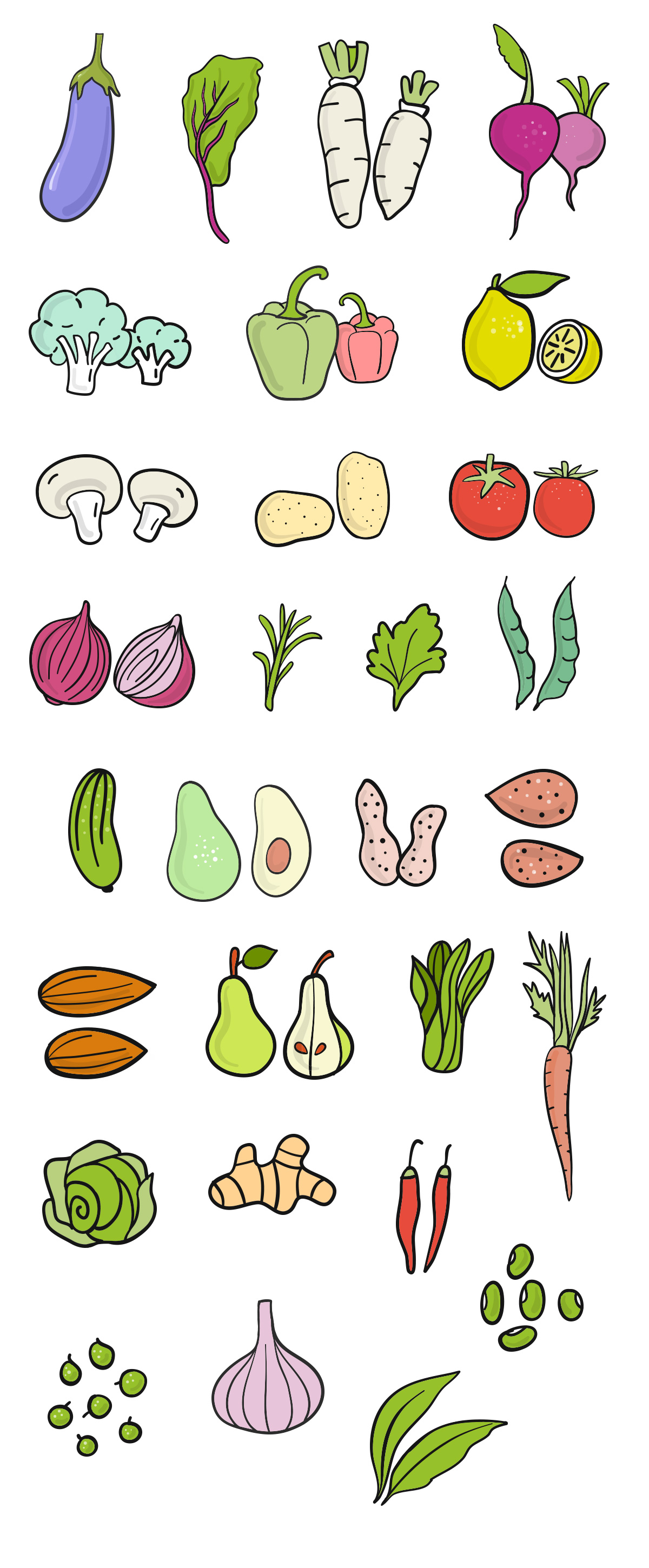 Food Break: Handdrawn Vegetable Vector Icons