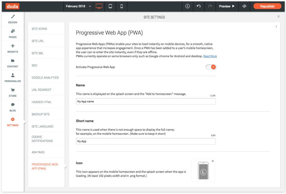 Duda - Progressive Web App