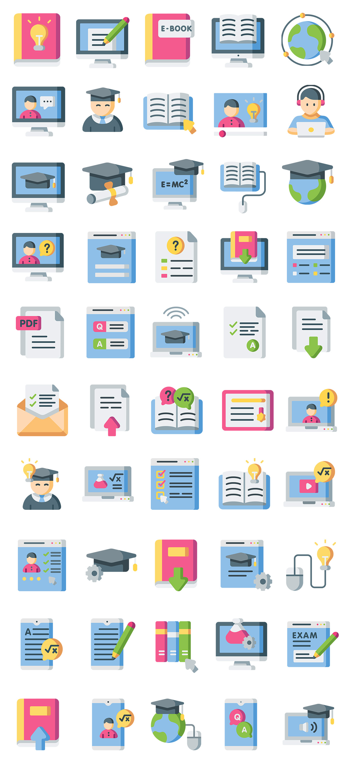 Online Learning Flat Icons