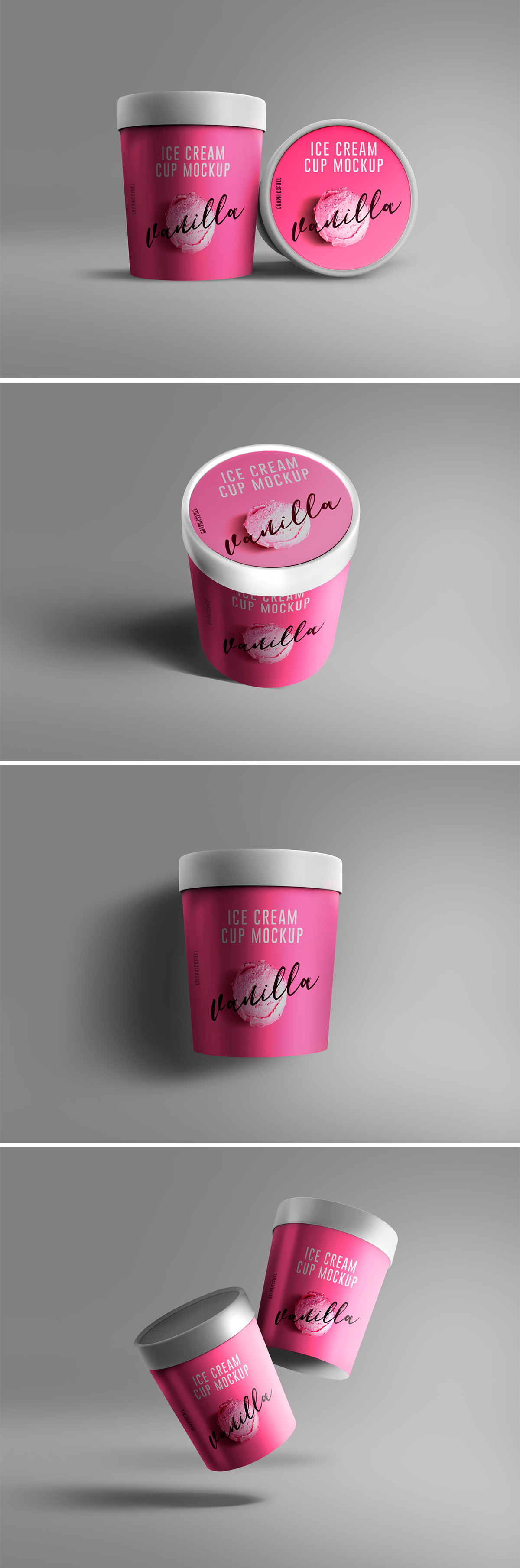 Ice Cream Cup PSD Mockups