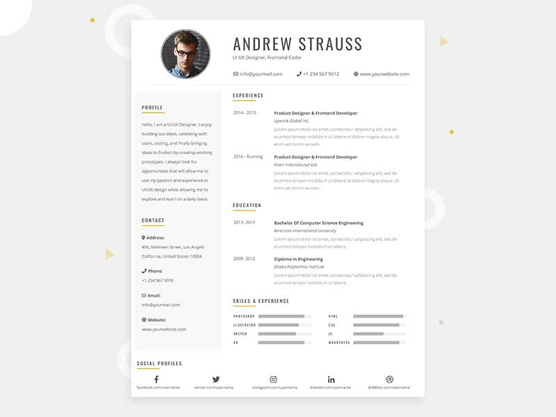 Clean Cv Resume Template Design In Photoshop Free Psd File Graphicslot