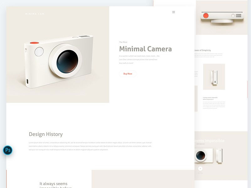camera-landing-page-psd-template