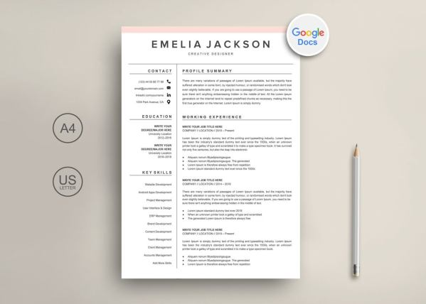 Simple Resume for Google Docs