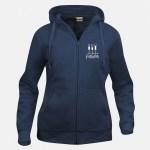 felpa hoody full zip donna blu