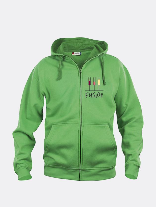 felpa jacket hoody full zip verde