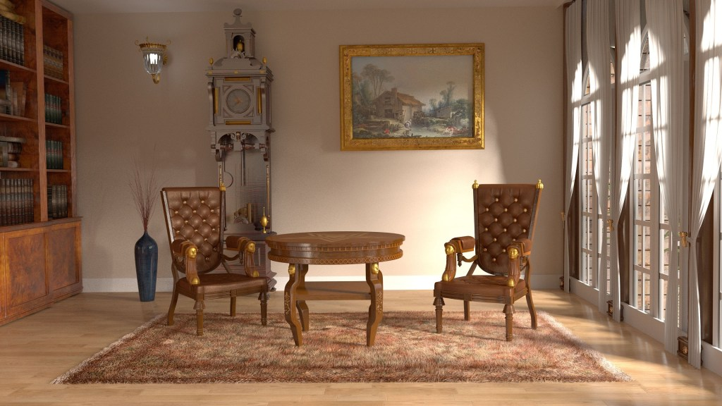 lux royal interior with bookshelves and painting wall also armchair