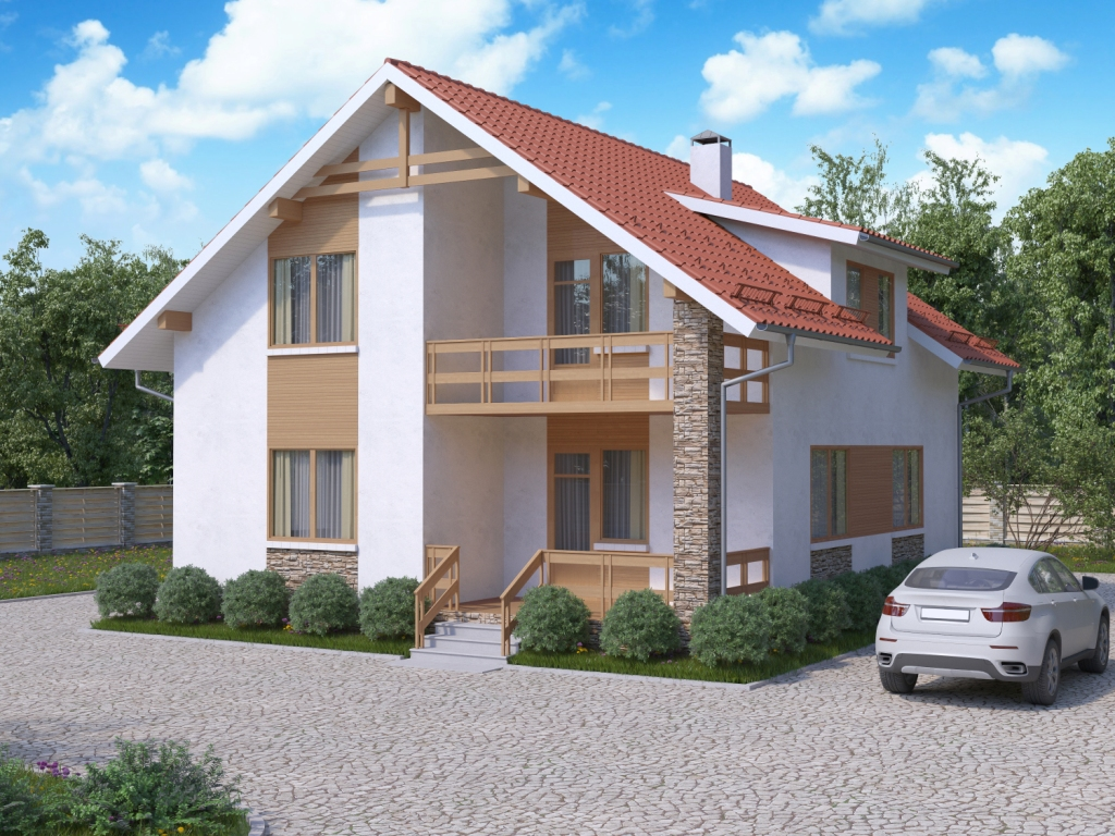 design of private suburban with chimney and simple stairs also car view