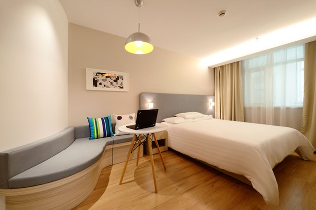 modern bedroom with wood furniture