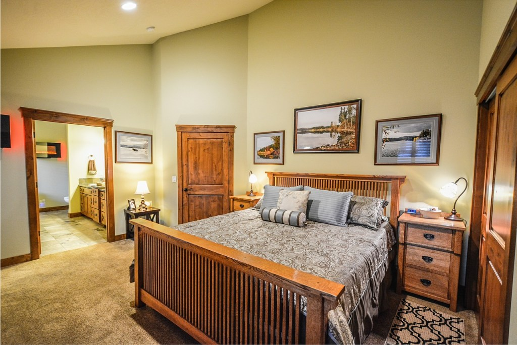 Master Bedroom Bedding Ideas with wooden furniture also bedside lamps