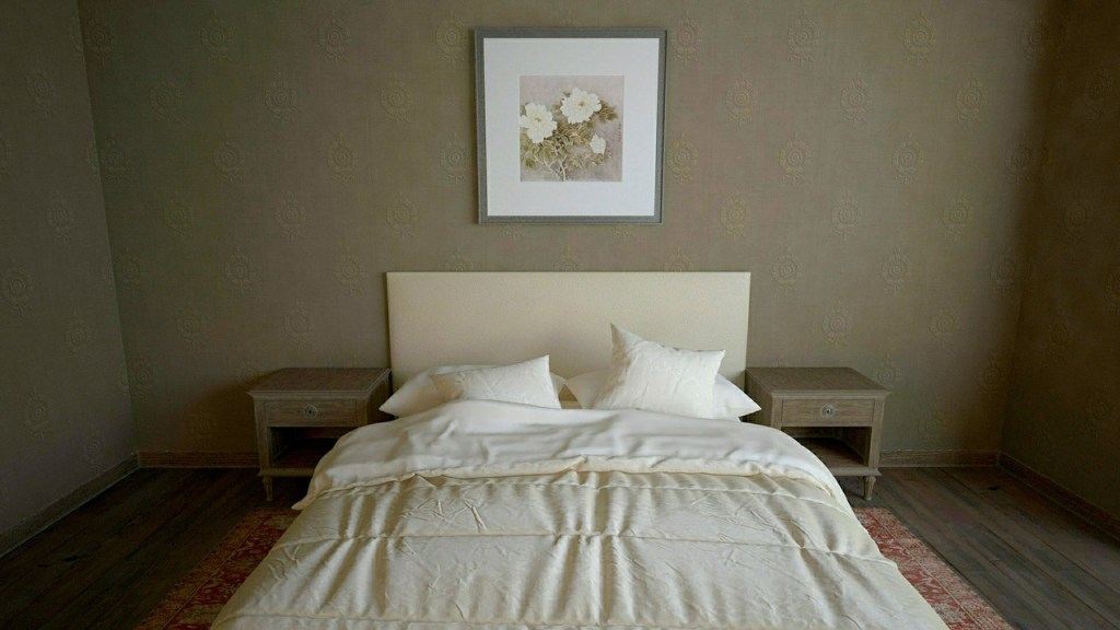 simple bedroom decor with wallpaper and wall art