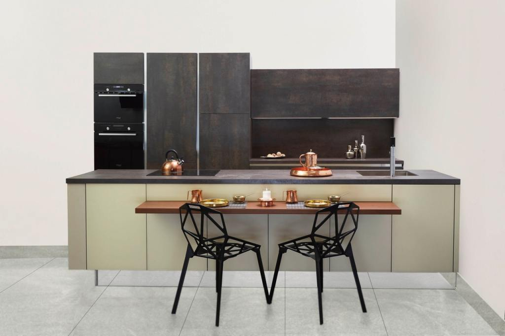 small kitchen design layouts with cabinet and black chairs