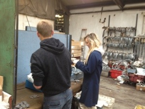 Hayden and Harriet putting nuts onto U-bolts