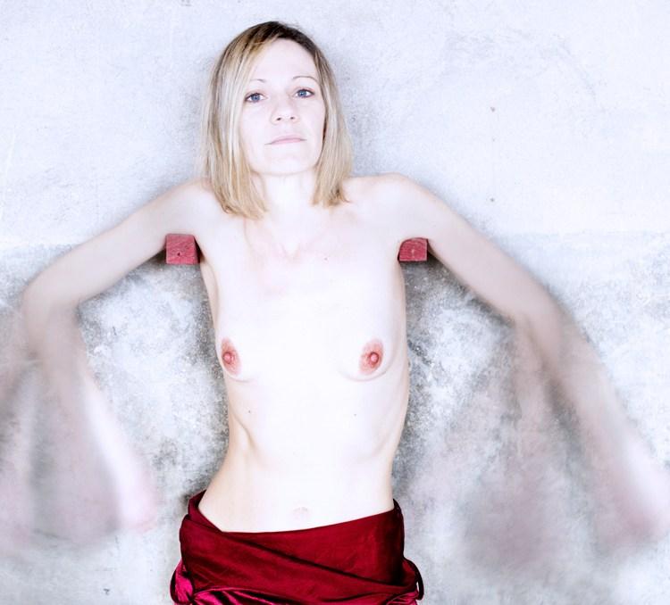 Portrait, Femme, Main tendue