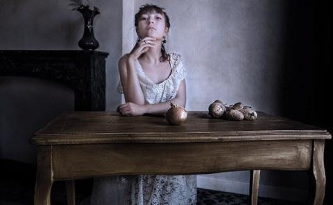 Portrait Flamand, Austère, Femme, Ancien Temps