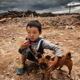 The child and his dog on wasteland