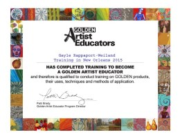Golden Artist Educator Certificate