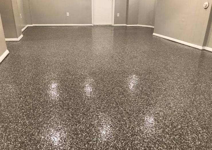 Residential Basement Flooring Polyurea in Silver Creek Color