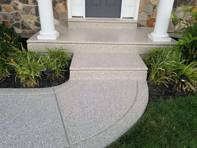 Polyurea Flake System Installed On Front Porch
