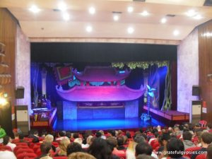 Inside the water puppet theater.