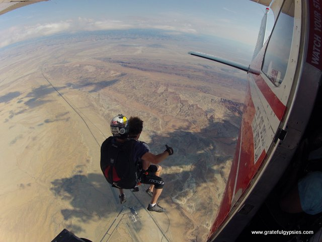 Jumping out of a plane above Moab.